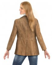 Womens Double Breasted Suede Blazer