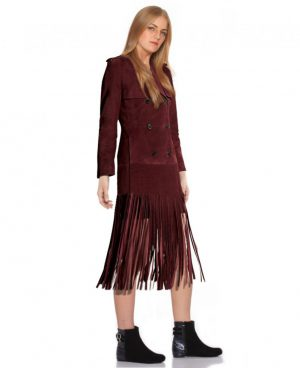Double Breasted Suede Fringed Coat