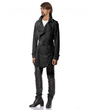 Mens Double Breasted Suede Trench Coat with Waist Belt