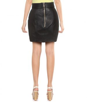 Black Leather Mini Skirt for Women with Draping