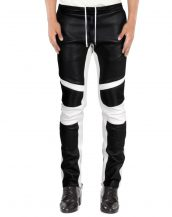 Mens Fashionable Lambskin Leather Trousers with Contrast Panels