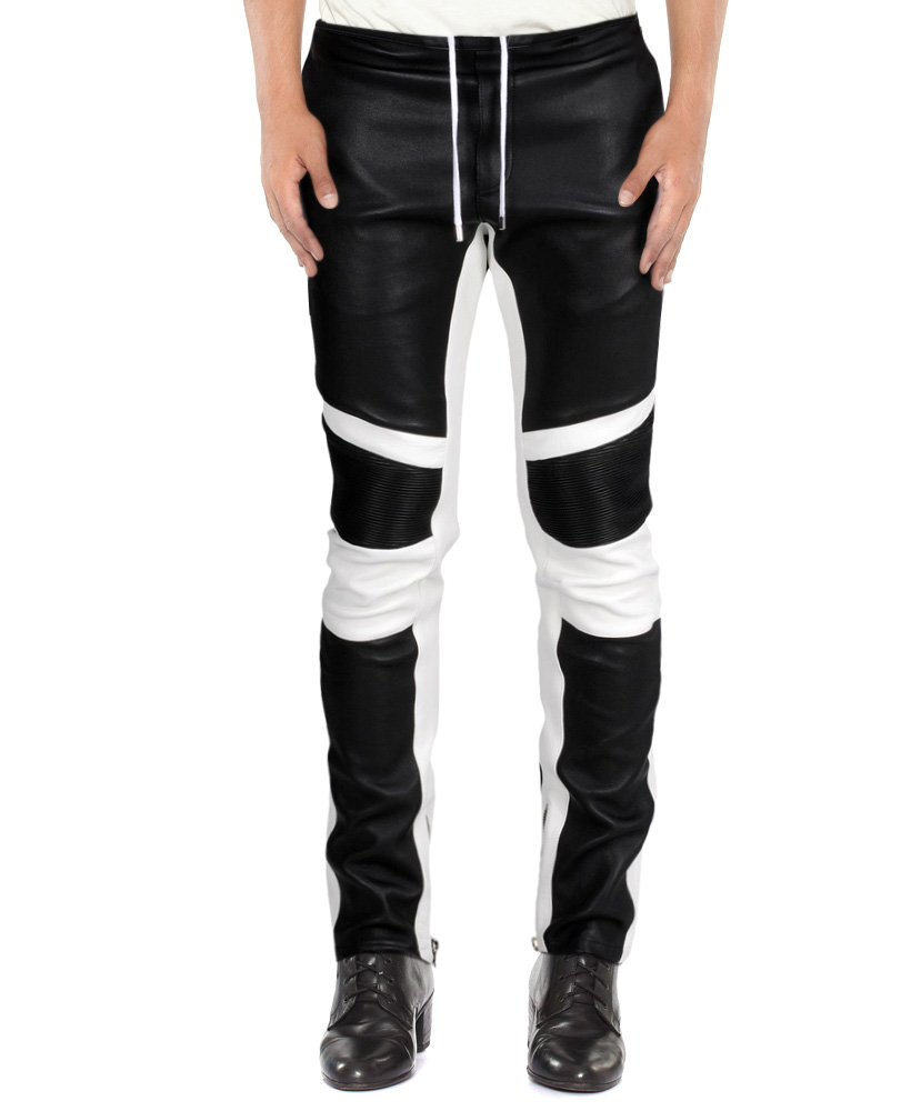 7be19b0ad40865 Mens Fashionable Lambskin Leather Trousers with Contrast Panels ...