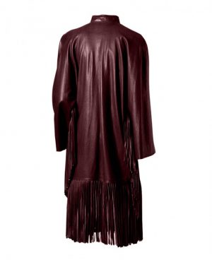 Womens Spooky Leather Coat with Fringed Bottom