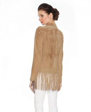 Womens Fringed Suede Blazer