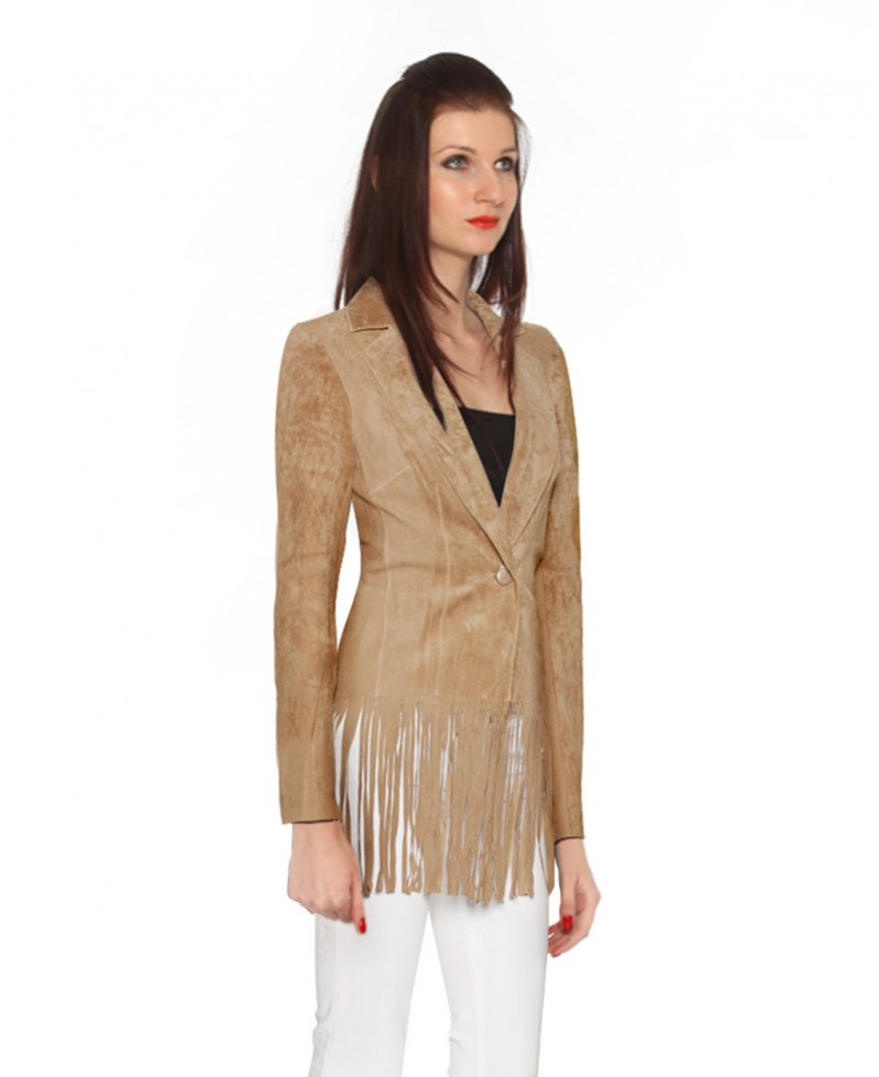 Womens Fringed Suede Blazer 1