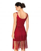 Classy Suede Fringe Dress with Scoop Neck