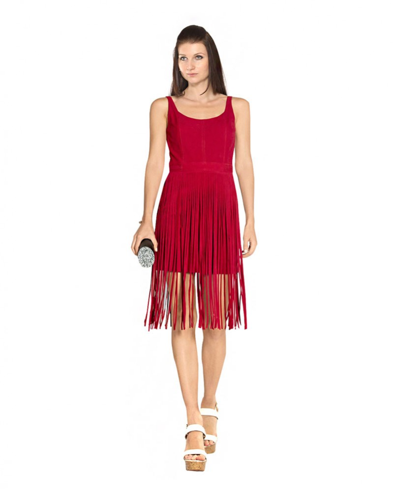 Cly Suede Fringe Dress With Scoop