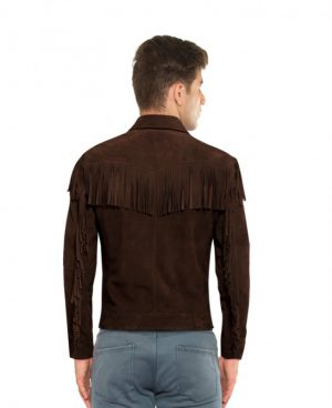 Mens Brown Fringed Suede jacket With Point Collar
