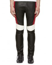 Mens Stylish Black Leather Pants with Colorblock Ribbed Panels