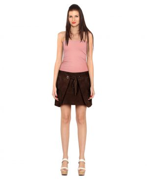 Dark Brown Suede Party Skirt with Front Drawstring Closure