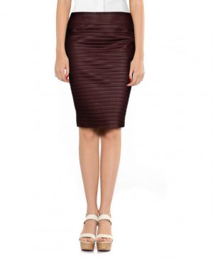 Womens Front Ribbed Lambskin Leather Pencil Skirt
