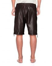 Mens Brown Leather Shorts with Side Zipper Closure