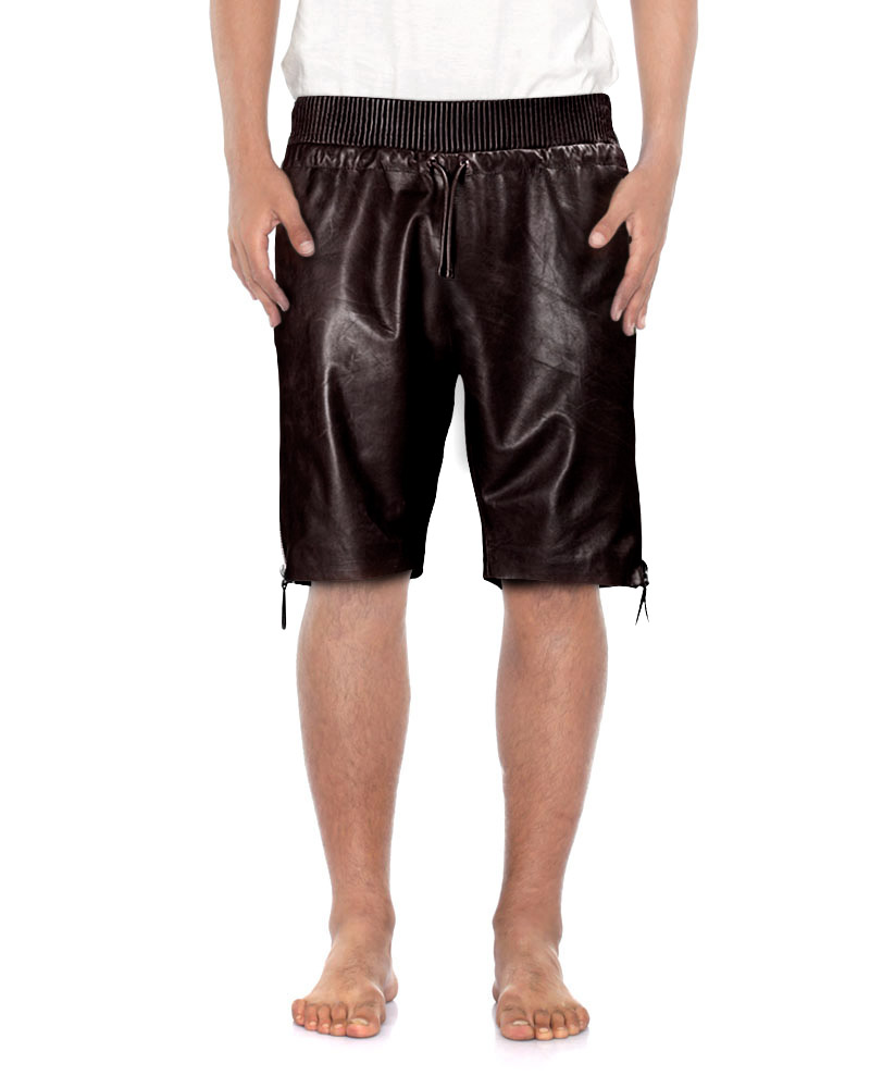 Mens Brown Leather Shorts with Side Zipper Closure 1