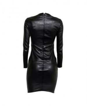 Womens Black Bodycon Leather Dress with Full Sleeves