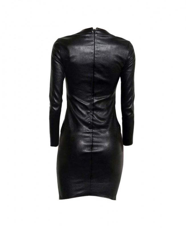 Womens Black Bodycon Leather Dress With Full Sleeves Custom