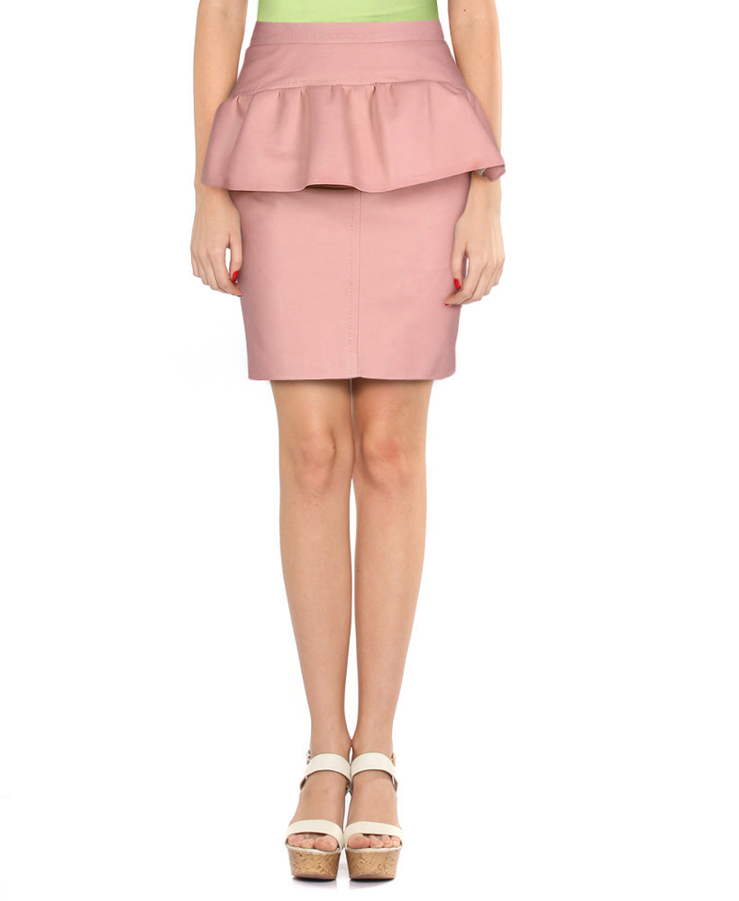 womens pastel pink knee length leather skirt with peplum