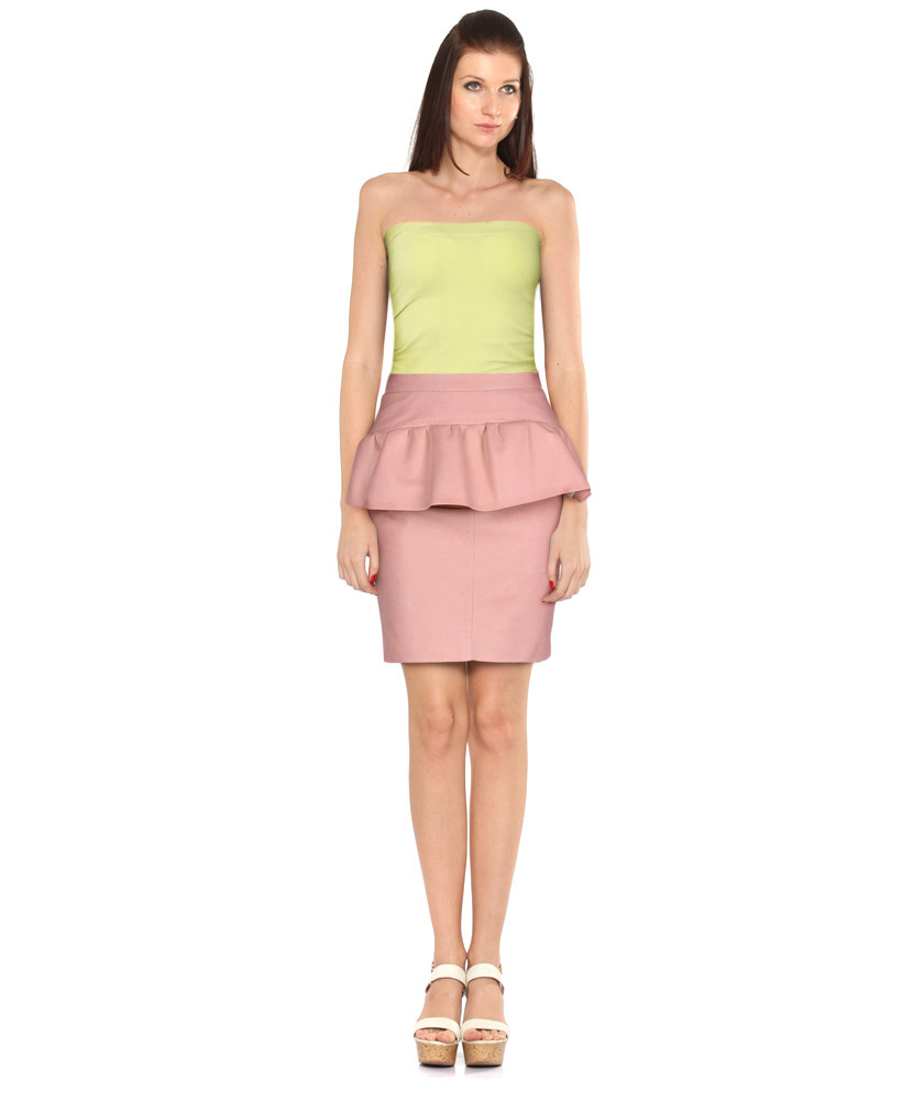 Pastel Pink Knee Length Leather Skirt with Peplum