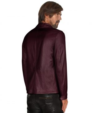 Mens Classic Leather Jacket with Large Flap Pocket