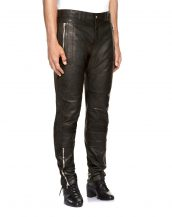 Mens Trendy Lambskin Leather Biker Trousers