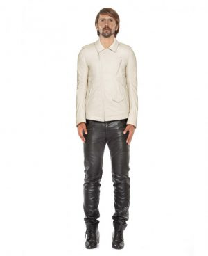 Mens Ivory Leather Jacket with Asymmetrical Zip Fastening