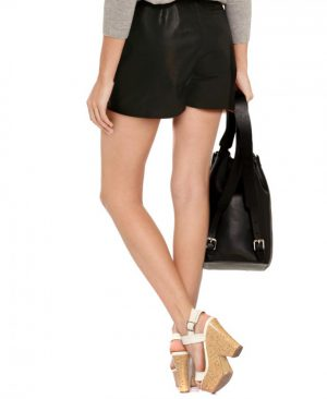 Women Basic Black Leather Shorts with Belt Loops