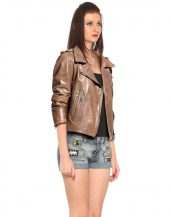 Ladies Leather Jackets with Asymmetric Zip