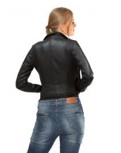 Black Genuine Lamb Leather Biker Jacket