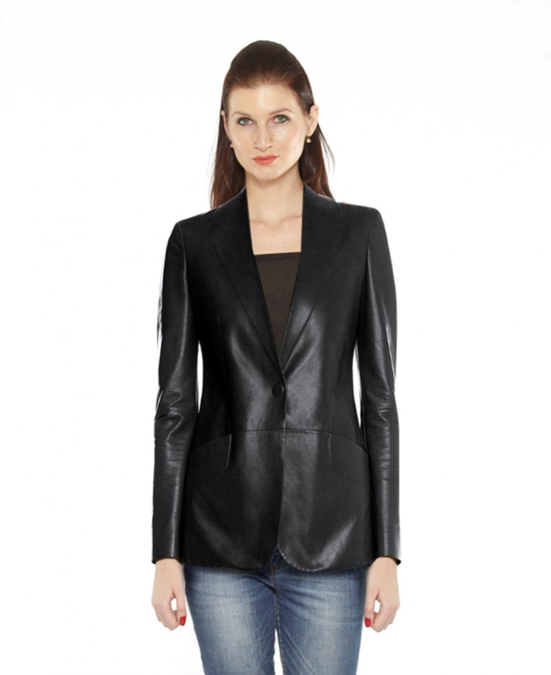 Womens Peplum Leather Blazer with Button Closure 1