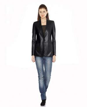 Womens Peplum Leather Blazer with Button Closure