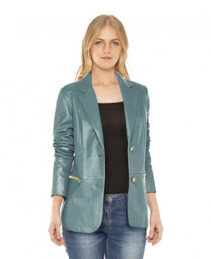 Womens Leather Blazer Jacket with Zip Pockets