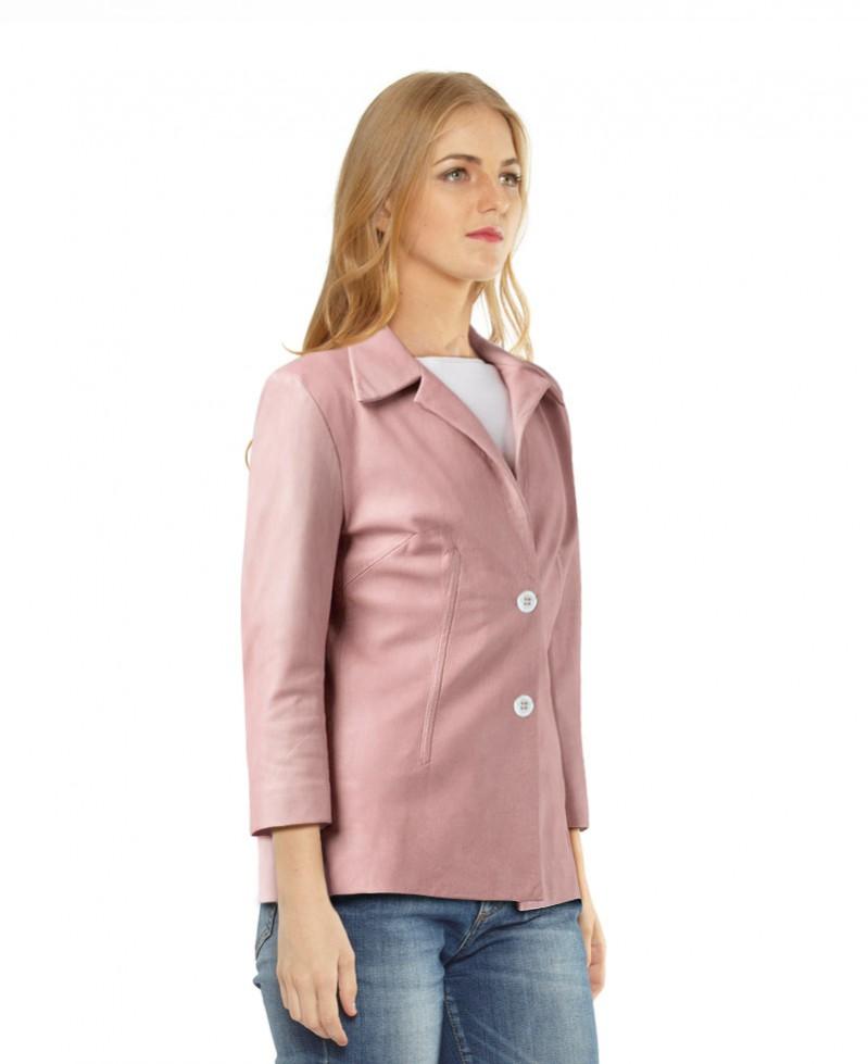 Womens Leather Blazer with Zipped Cuffs 1