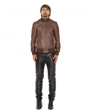 Leather Bomber Jacket with Zippered Patch Pockets