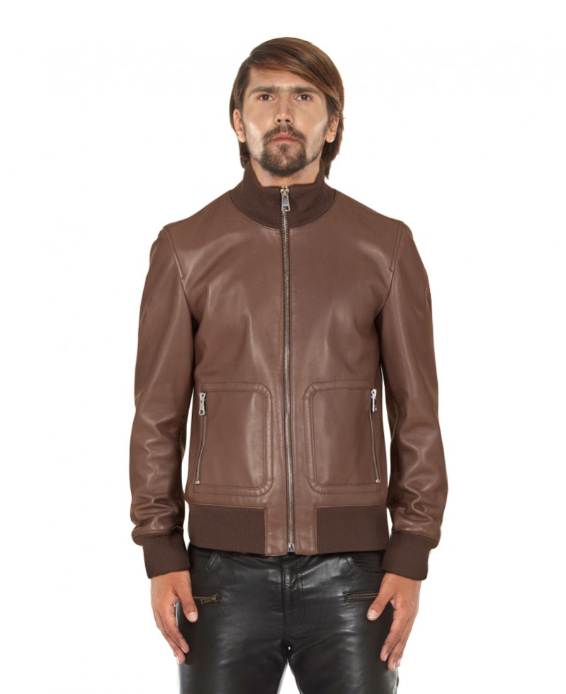 Leather Bomber Jacket with Zippered Patch Pockets 1