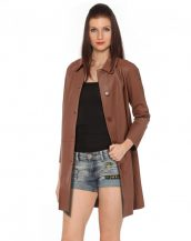 Camel Polo Collar Lambskin Leather Coat