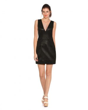 Womens Stylish Black Leather Dress with Panel Back
