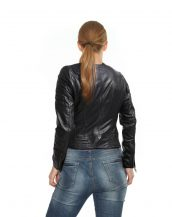 Black Leather jacket with slant zip closure
