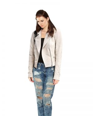 Stylish Womens Lapel leather Jacket