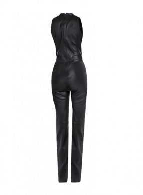 Slim Fit Black Leather Jumpsuit with Plunge V Neck