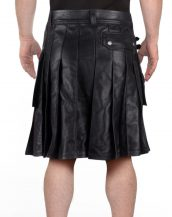 Mens Fashionable Leather Kilt with Twin Cargo Pockets
