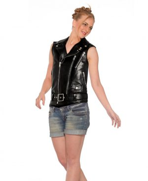 Stylish Women Double Breasted Moto Vest with Shoulder Epaulettes