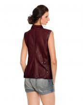 Sexy Women Leather Biker Vest with Throat Latch and Buckle