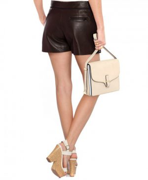Sexy Women Leather Shorts with Pin Tuck Side Panels