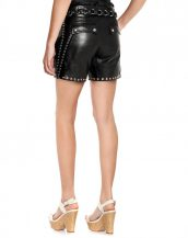 Stylish Regular Fit Leather Shorts for Women with Whip Stitched Trims