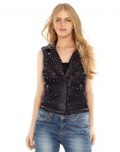 Womens Stylish Studded Leather Moto Vest