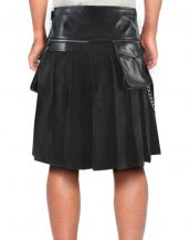 Mens Modern Leather and Suede Kilt