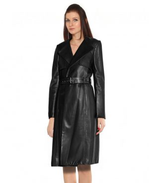 Leather Trench Coat with Wide Lapels