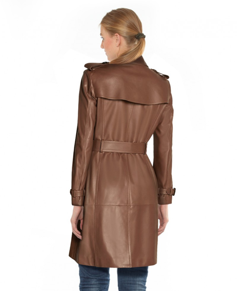 Brown Leather Trench Coat for Women at LeatherRight