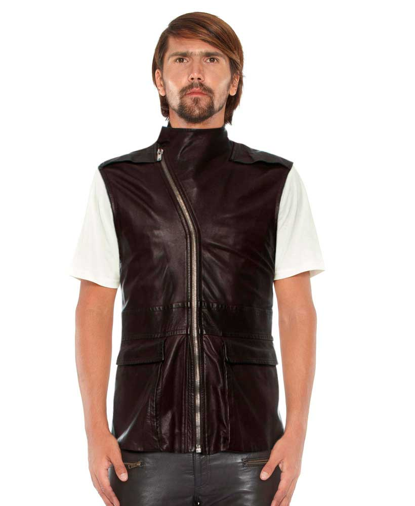 Mens Brown Leather Moto Vest with Asymmetrical Zip Fastening 1