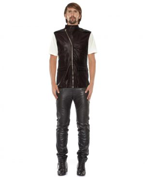 Mens Brown Leather Moto Vest with Asymmetrical Zip Fastening