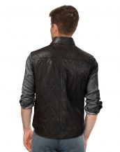 Mens dark brown Leather Quilted Vest with Throat Buckle